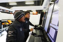 Honda team members examine data