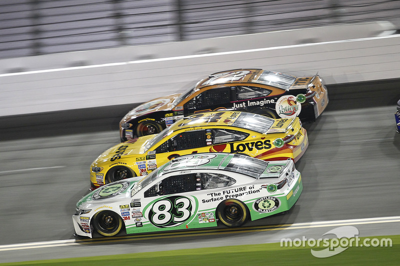 Corey LaJoie, BK Racing, Toyota; Landon Cassill, Front Row Motorsports, Ford; Cole Whitt, TriStar Mo