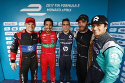 Maro Engel, Venturi, Lucas di Grassi, ABT Schaeffler Audi Sport,Sébastien Buemi, Renault e.Dams, Jean-Eric Vergne, Techeetah, and Nelson Piquet Jr., NEXTEV TCR Formula E Team, celebrate after qualifying