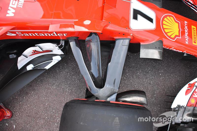 Detalle de la suspensión delantera del Ferrari SF70H