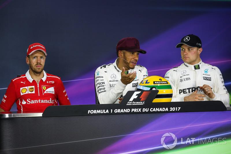 Polesitter Lewis Hamilton, Mercedes AMG F1, mit Helm von Ayrton Senna; 2. Sebastian Vettel, Ferrari; 3. Valtteri Bottas, Mercedes AMG F1