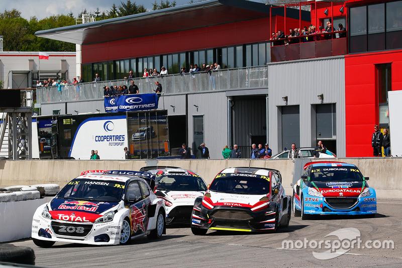 Timmy Hansen, Team Peugeot Hansen, Timo Scheider, MJP Racing Team Austria Ford Fiesta ST