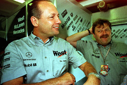 Ron Dennis and Norbert Haug enjoy David Coulthard's encouraging practice session
