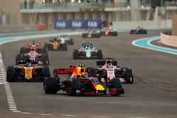 Max Verstappen, Red Bull Racing RB13, Sergio Perez, Sahara Force India F1 VJM10, Nico Hulkenberg, Renault Sport F1 Team RS17, Esteban Ocon, Sahara Force India F1 VJM10, Felipe Massa, Williams FW40