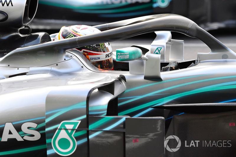 Lewis Hamilton, Mercedes-AMG F1 W09 EQ Power in parc ferme