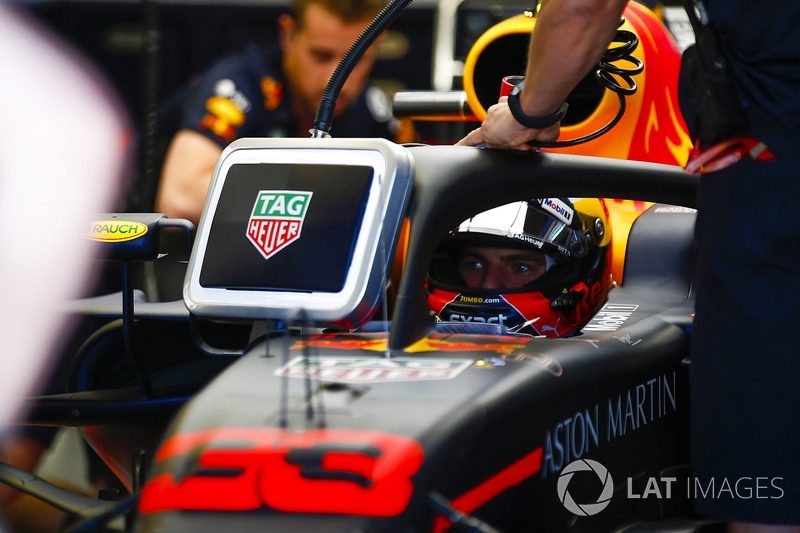 Max Verstappen, Red Bull Racing, in cockpit.