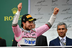 Sergio Perez, Force India celebrates on the podium