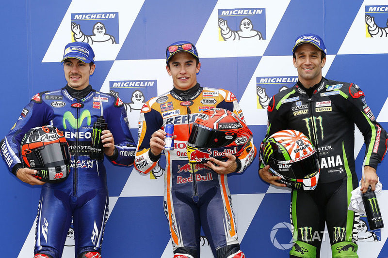 Il poleman Marc Marquez, Repsol Honda Team, il secondo qualificato Maverick Viñales, Yamaha Factory Racing, il terzo qualificato Johann Zarco, Monster Yamaha Tech 3
