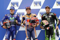 Il poleman Marc Marquez, Repsol Honda Team, il secondo qualificato Maverick Viñales, Yamaha Factory Racing, il terzo qualificato Johann Zarco, Monster Yamaha Tech 3