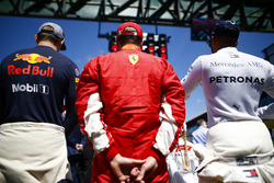 Max Verstappen, Red Bull Racing, Kimi Raikkonen, Ferrari, and Lewis Hamilton, Mercedes AMG F1, on the grid