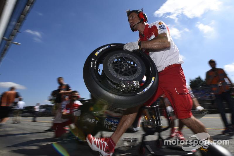 Ducati Team mechanic at work