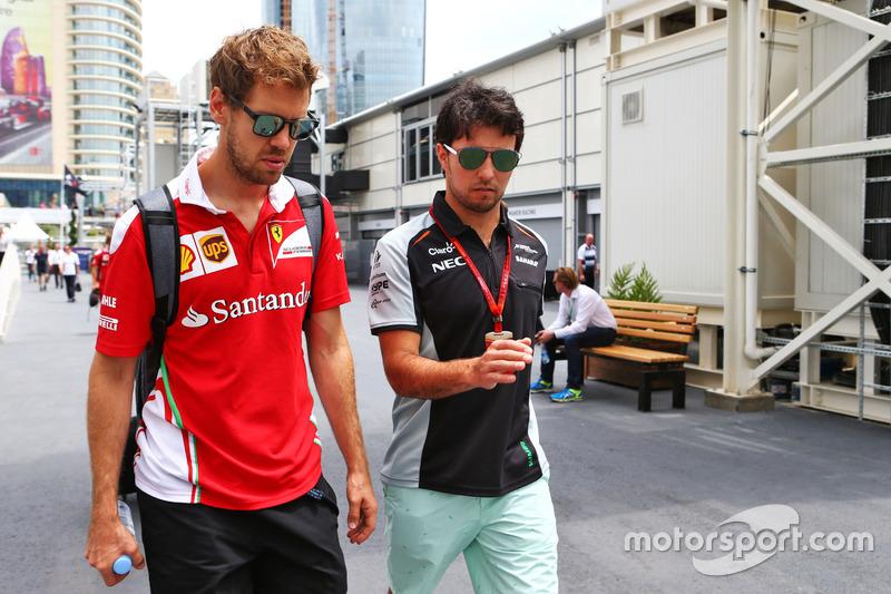 Sebastian Vettel, Ferrari con Sergio Pérez, Sahara Force India F1