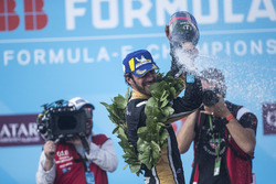 Jean-Eric Vergne, Techeetah, sprays the champagne on the podium