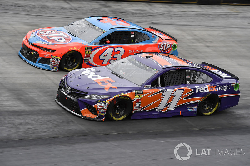 Denny Hamlin, Joe Gibbs Racing, Toyota Camry FedEx Freight and Darrell Wallace Jr., Richard Petty Motorsports, Chevrolet STP