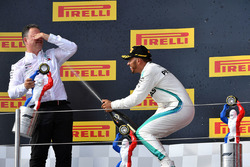 Lewis Hamilton, Mercedes-AMG F1 and Ron Meadows, Mercedes AMG F1 Team Manager celebrate on the podium with the champagne