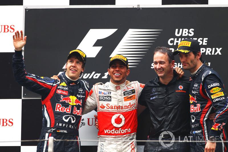 2011: 1. Lewis Hamilton, 2. Sebastian Vettel, 3. Маrk Webber