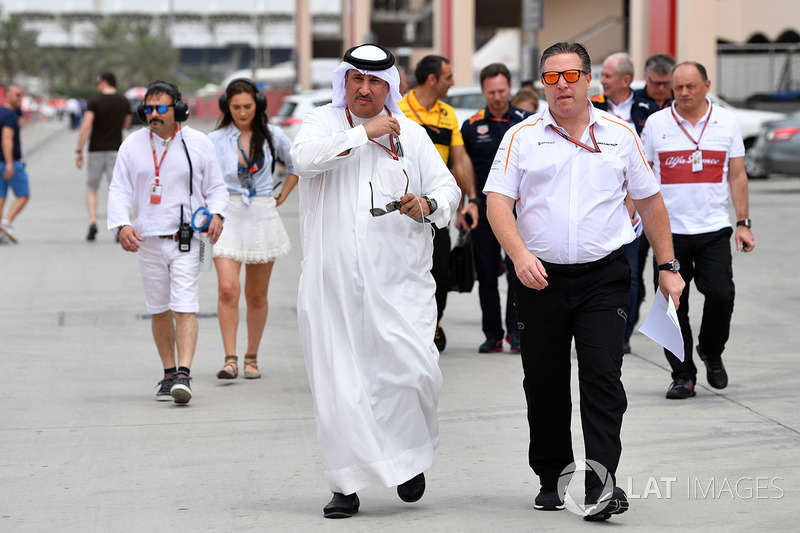 Sheikh Mohammed bin Essa Al Khalifa, CEO of the Bahrain Economic Development Board and McLaren Shareholder and Zak Brown, McLaren Executive Director