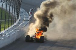 Matheus Leist, A.J. Foyt Enterprises Chevrolet, a fuoco