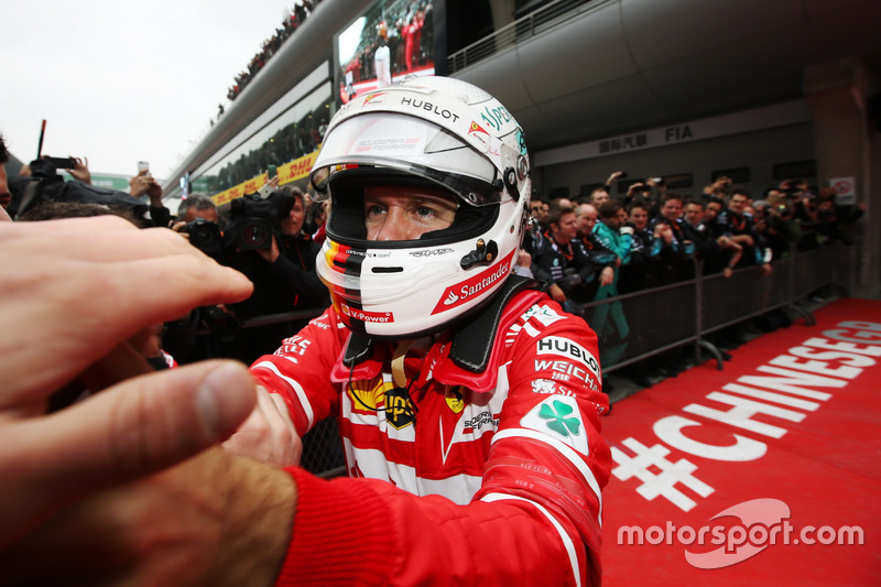 Sebastian Vettel, Ferrari, celebrates his second place in parc ferme