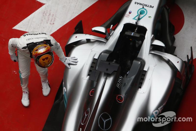 Lewis Hamilton, Mercedes AMG, celebrate in parc ferme