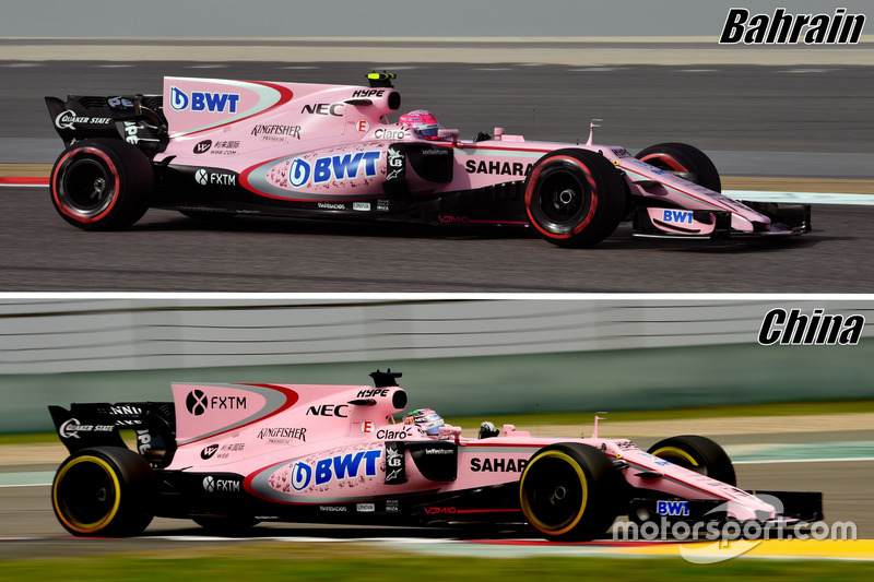Force India VJM10, shark fin comprasion