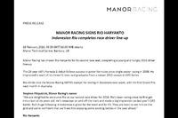Press release pengumuman Rio Haryanto dari Manor Racing