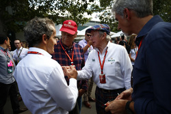 A meeting of past world champions Alain Prost, Niki Lauda, Sir Jackie Stewart, and Damon Hill