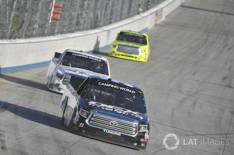 Harrison Burton, Kyle Busch Motorsports, Toyota; Ryan Truex, Hattori Racing Enterprises, Toyota