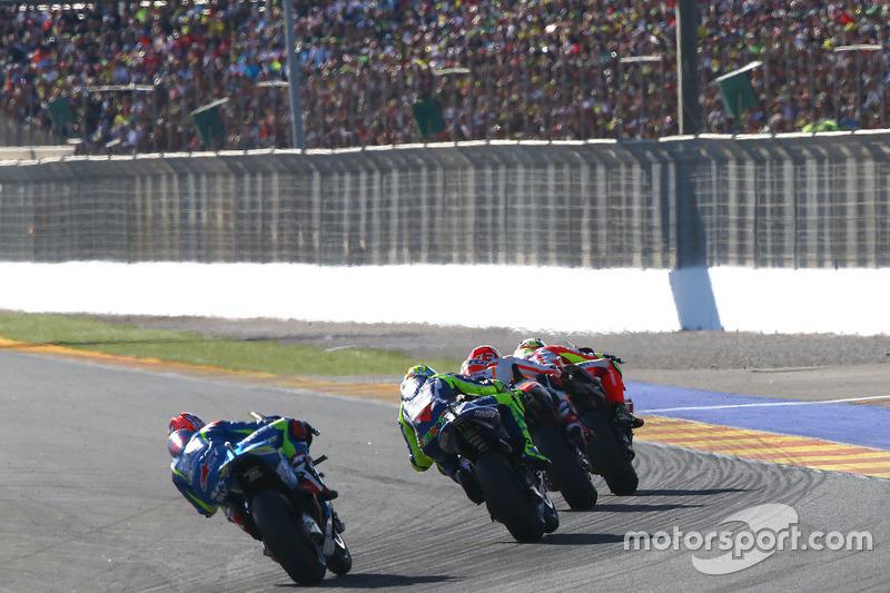 Andrea Iannone, Ducati Team; Marc Marquez, Repsol Honda Team; Valentino Rossi, Yamaha Factory Racing; Maverick Viñales, Team Suzuki Ecstar MotoGP