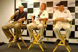Former NASCAR Busch Series drivers Tommy Houston, Chuck Brown and Jack Ingram speak during a press conference for the 25th Anniversary of the NASCAR Busch Series