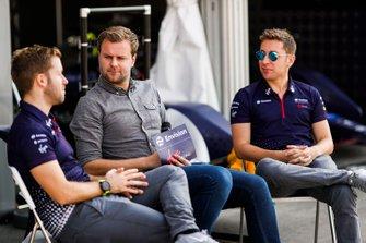 Sam Bird, Envision Virgin Racing, commentator Jack Nichols, Robin Frijns, Envision Virgin Racing