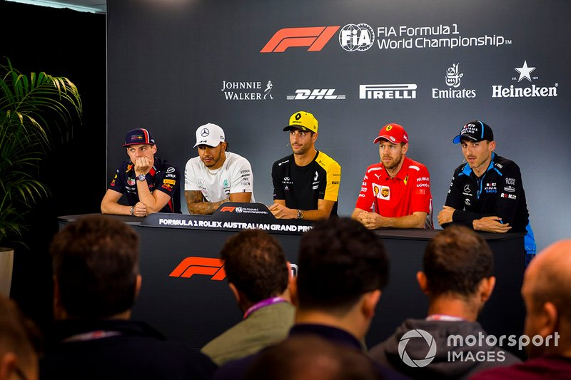 Max Verstappen, Red Bull Racing, Lewis Hamilton, Mercedes AMG F1, Daniel Ricciardo, Renault F1 Team, Sebastian Vettel, Ferrari y Robert Kubica, Williams Racing