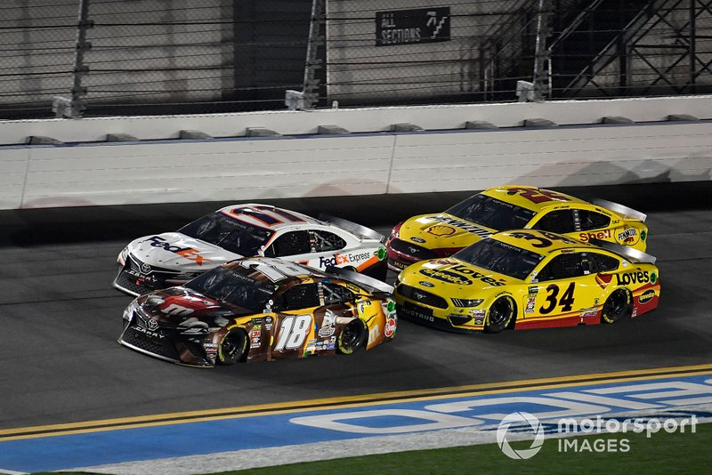 Kyle Busch, Joe Gibbs Racing, Toyota Camry M&M's Chocolate Bar, Denny Hamlin, Joe Gibbs Racing, Toyota Camry FedEx Express, Michael McDowell, Front Row Motorsports, Ford Mustang Love's Travel Stops, and Joey Logano, Team Penske, Ford Mustang Shell Pennzoil