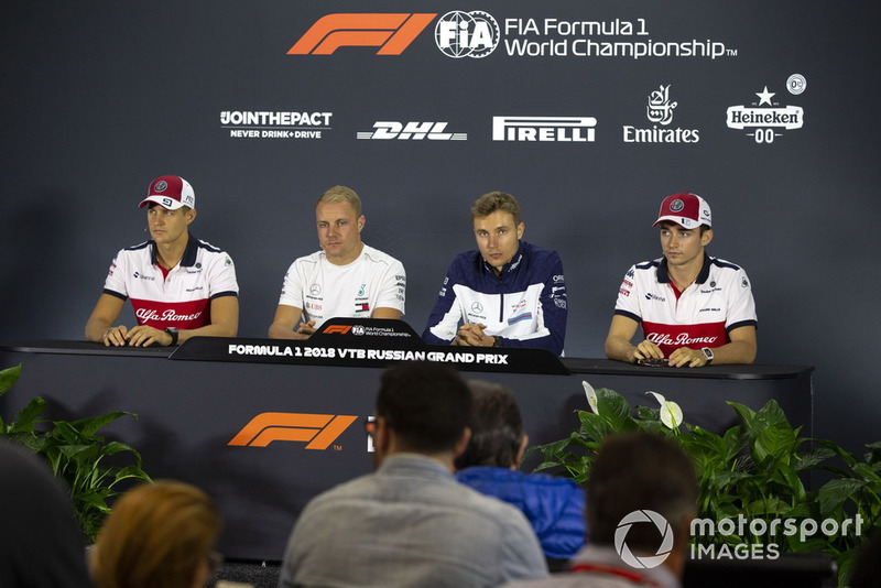 Marcus Ericsson, Sauber, Valtteri Bottas, Mercedes AMG F1, Sergey Sirotkin, Williams Racing and Charles Leclerc, Sauber in the press conference