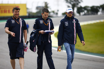 Esteban Ocon, Force India, walks the circuit with colleagues