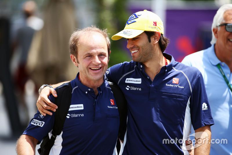Felipe Nasr, Sauber F1 Team (derecha) con José Lieberer, fisio de Sauber