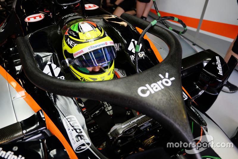 Sergio Perez, Sahara Force India F1 VJM09 with the Halo cockpit cover
