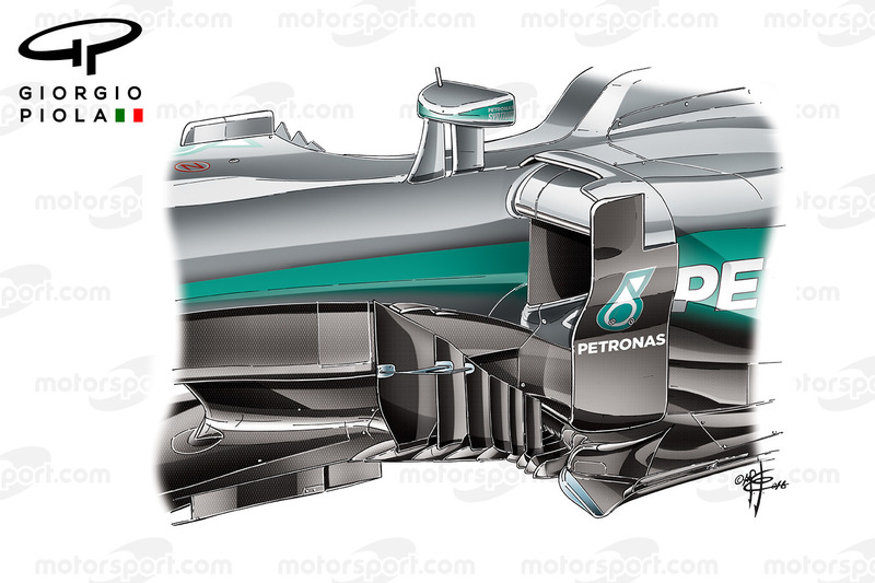 Mercedes W07 barge boards, GP van Spanje