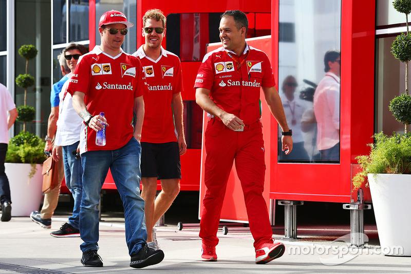 Kimi Raikkonen, Ferrari with Sebastian Vettel, Ferrari and Diego Ioverno, Ferrari Operations Directo