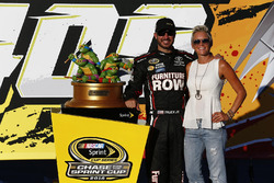Race winner Martin Truex Jr., Furniture Row Racing Toyota with his wife, Sherry Pollex