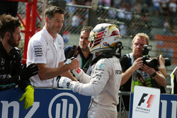 Lewis Hamilton, Mercedes AMG F1 celebrates his third position in parc ferme