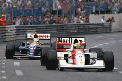 Ayrton Senna, McLaren MP4/7A, Nigel Mansell, Williams FW14B