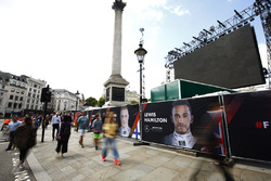 A Banner for Lewis Hamilton, Mercedes AMG F1, on the barrier surrounding Nelsons Column