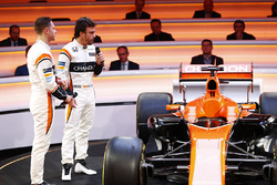 Fernando Alonso, McLaren, and team-mate Stoffel Vandoorne, discuss the MCL32 on stage