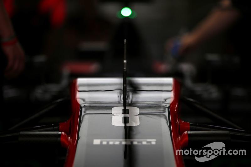 The nose of the car of Romain Grosjean, Haas F1 Team VF-17