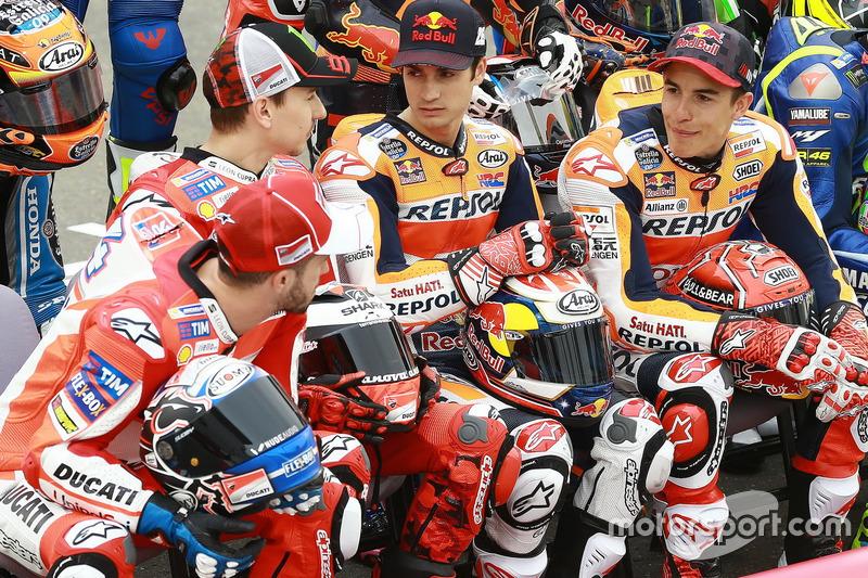 Андреа Довіціозо, Ducati Team; Хорхе Лоренсо, Ducati Team; Дані Педроса, Repsol Honda Team; Марк Маркес, Repsol Honda Team