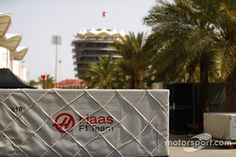 Haas F1 Team freight in the paddock
