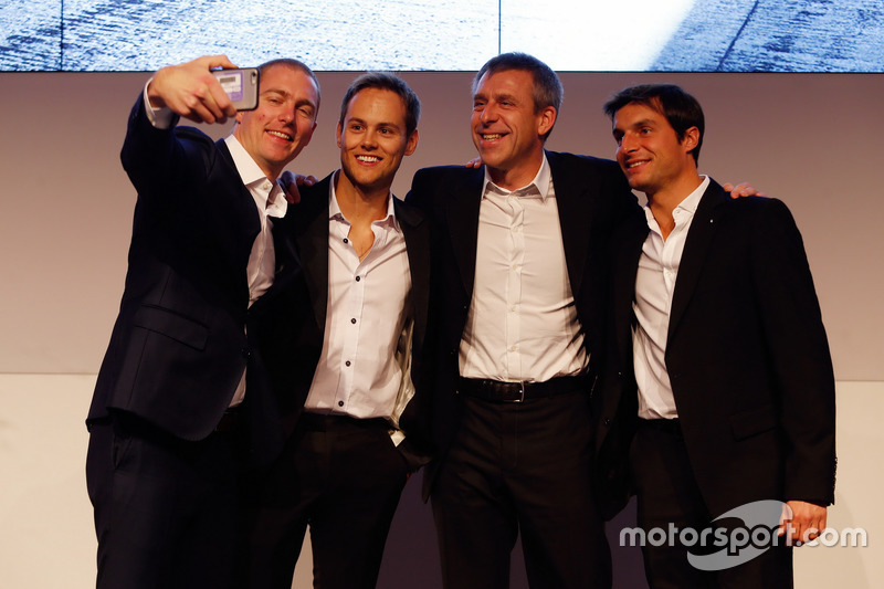 Maxime Martin; Tom Blomqvist; Bart Mampaey Director del equipo BMW RBM y Bruno Spengler
