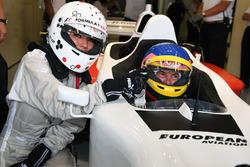 Jacques Villeneuve, F1 Experiences 2-Seater Driver and F1 Experiences 2-Seater passenger Federica Masolin, Sky Italia Presenter