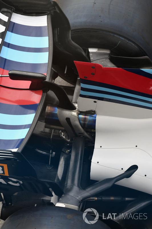The rear wing aero detail of the Williams FW40